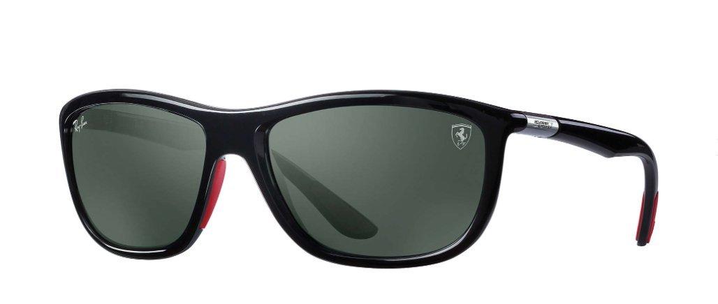 Ray-Ban Mens Sunglasses Black Shiny/Green Plastic,Nylon - Non-Polarized - 60mm