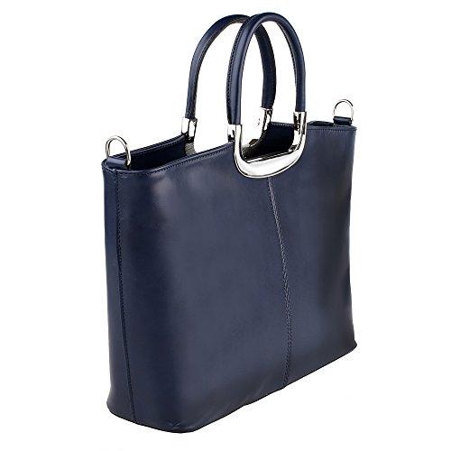 main en cuir épaule avec Chicca Sac Borse 36x27x12 véritable Bleu Fabriqué femme Italie Cm à en HS4xqcw5WB