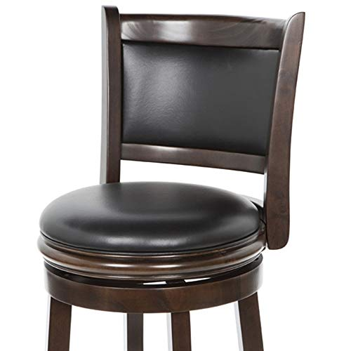 Old Furniture Leather Hickory (CHOOSEandBUY Cappuccino 29-inch Swivel Barstool with Faux Leather Cushion Seat New Sturdy Classic Elegant Furniture)