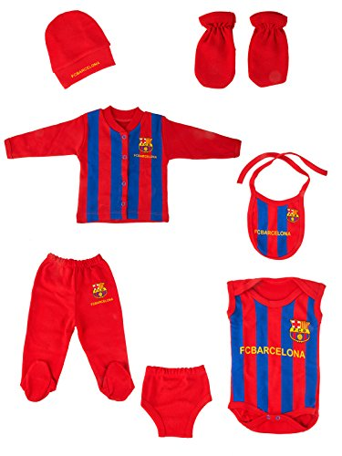 fan products of Barcelona || Babyset football soccer 6 pieces with hats, gloves, baby rompers, bib and full tracksuit. (Barcelona)