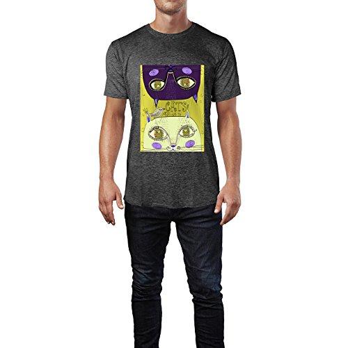 SINUS ART® Zwei süße handgezeichnete Katzen Herren T-Shirts in dunkelgrau Fun Shirt mit tollen Aufdruck