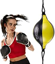 VAlinks Professional Double End Speed Bag PU Leather Punch Ball Striking Bag Kits for Boxing MMA Training Muay