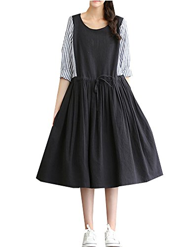 Cotton And Linen Striped Dress - 8