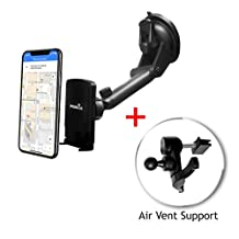 Widras Windshield and Air Vent Car Mount Magnetic 2in1 Phone Holder Prime Cradle for Mobile device iPhone 7 7+ / 6s / 6+ / Galaxy S7 / Edge / S6 /Note 5 /Nexus 6, GPS. Compatible with trucks