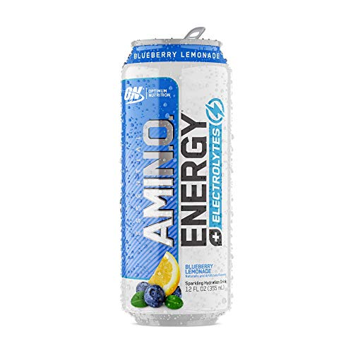 OPTIMUM NUTRITION Essential Amino Energy Plus Electrolytes Sparkling Hydration Drink, Blueberry Lemonade, 12 Count