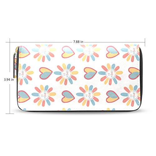 Women Rainbow Love U Leather Wallet Large Capacity Zipper Travel Wristlet Bags Clutch Cellphone Bag