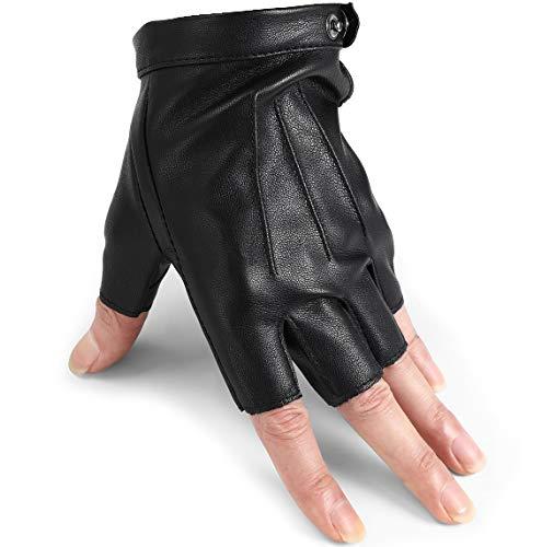 Driving Gloves Breathable Leather Gloves Anti Slip thin Fingerless Gloves Black M