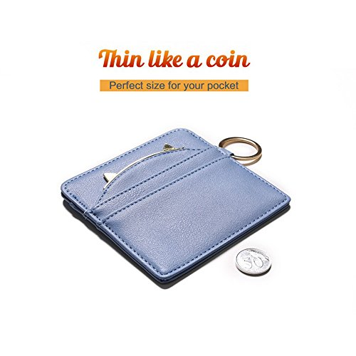 Nico Louise Cat Ear Leather Coin Purses Women Key Chain Credit Card Holders Girls Wallet (Blue) by Nico Louise (Image #3)