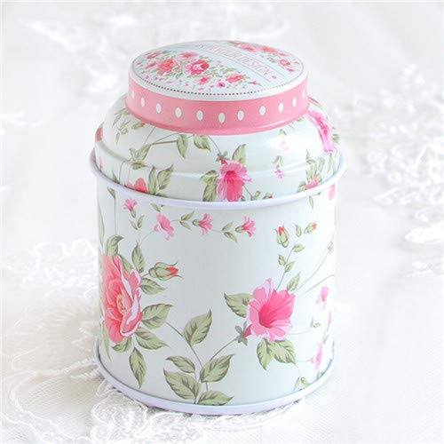 Wall of Dragon 1pcs Vintage Style Print Flower Series Metal Tea Box Cute Tin Box Round Home Storage Case Iron Candy Container Gift