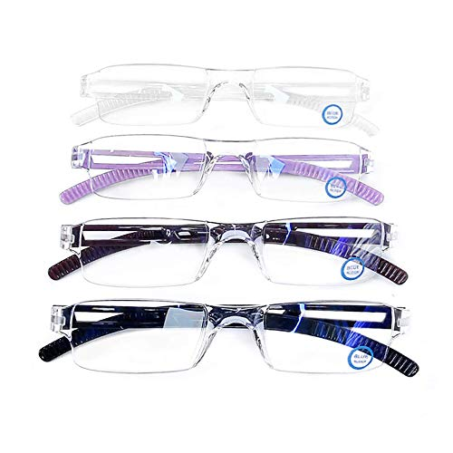 4 Pack Blue Light Blocking Glasses,Clear Vision Reading Glasses with Multi-Magnification,Daily Use for Women/Men (+2.50 Magnification, 4Color) from VisionGlobal