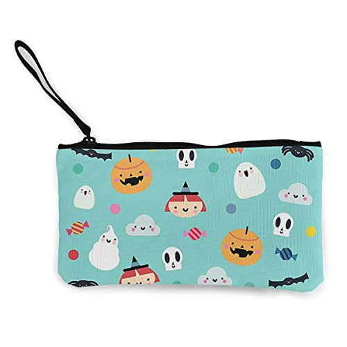 Coin Purse Halloween Pumpkin Witch Ghost Pattern Cute Travel Makeup Pencil Pen Case With Handle Cash Canvas Zipper Pouch 4.7