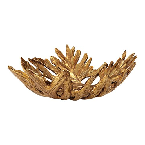 Uttermost Antiqued Metallic Gold Oak Leaf Decorative Bowl (Gold Accents Antiqued)