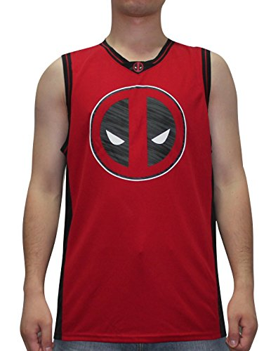 MARVEL COMICS DEADPOOL Mens Summer Dri-Fit Sleeveless Shirt / Vest Top S/M Red