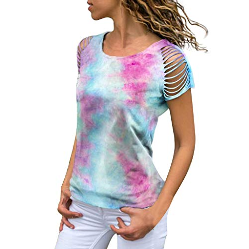 Smdoxi Women's Round Neck Short-Sleeved Cut tie Dyed Printed Casual T-Shirt top Blue]()