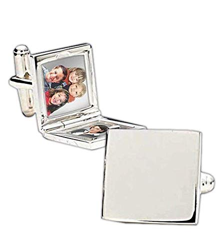 PicturesOnGold.com Palladium Square Locket Cufflinks Palladium Priced Per Pair WITH ENGRAVING