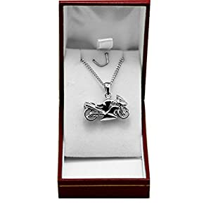Ascalido® Genuine Solid Sterling Silver Hallmarked Motorbike Design Pendant with Chain and Gift Box