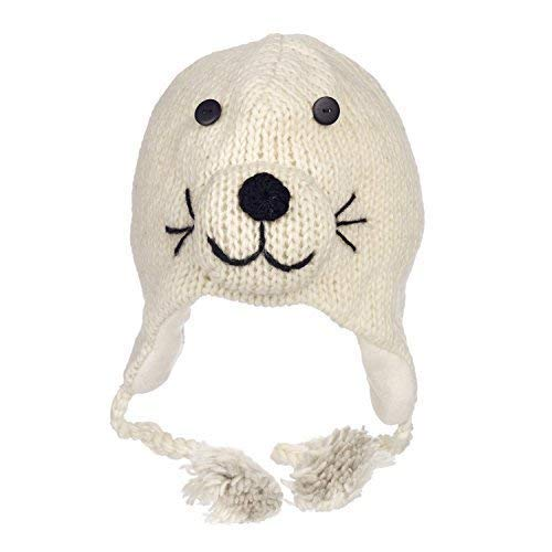 (Paper High Men's Fun Seal Handmade Winter Woollen Animal Hat with Fleece Lining One Size)