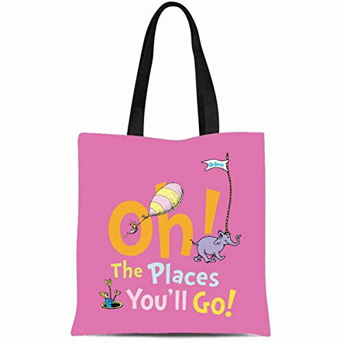 Ahawoso Canvas Tote Bag 14x16 Inches Youll Dr Seuss Oh Places You Ll Go Graduation Durable Reusable Custom Shopping Shoulder Grocery Bag