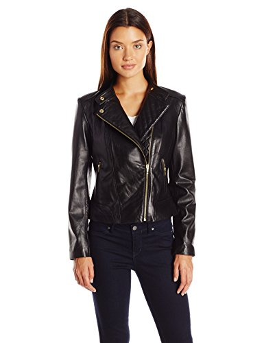 (Cole Haan Women's Assymetrical Moto Jacket, Black, Large)