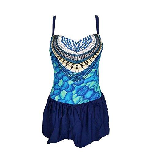 El Cuerpo Que Forma Floral Del Traje De Baño Plus Traje De Baño De Una Pieza Tamaño De La Mujer Blue