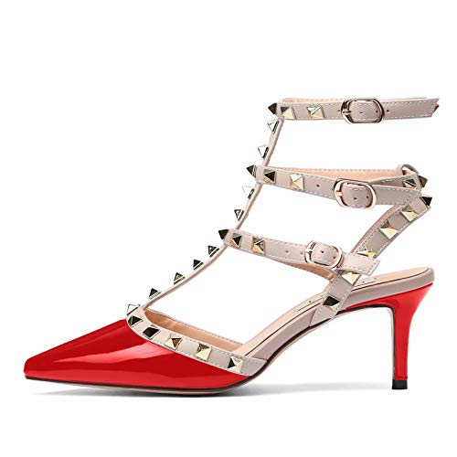 Chris-T Women Pointed Toe Strappy Sandals Studded Slingback High Heel Studs Leather Dress Pumps ()