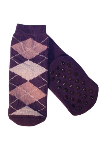 Weri Spezials Kinder ABS Socke Frotee-Sohle Romben Motiv in Lila, Gr.17-18 (6-9 Monate)