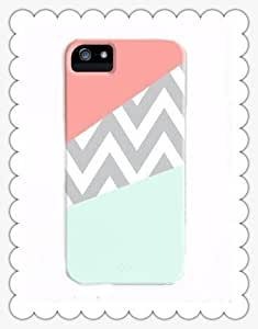 Mint; Coral Chevron Block on For Iphone 5C Case Cover ,plastic Cover Includes Screen Protector and Cleaning Cloth