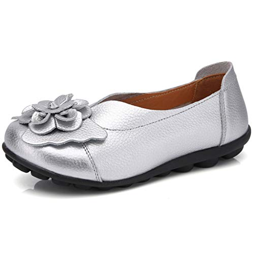 20797b0058c4c GIY Women's Casual Leather Loafers Comfort Round Toe Flower Driving  Moccasins Wild Casual Breathable Flats Shoes Sliver