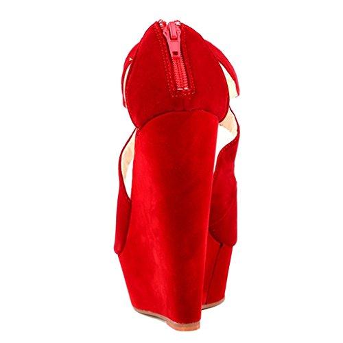 EKS - Zapatos de Tacón Mujer Rot-Wildleder