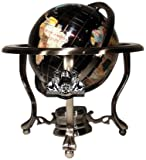Unique Art 21-Inch Tall Black Onyx Ocean Table Top Gemstone World Globe with Silver Tripod