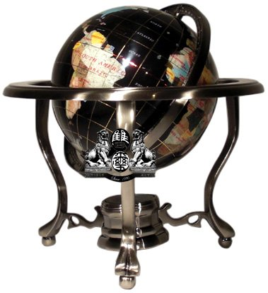 - Unique Art 21-Inch Tall Black Onyx Ocean Table Top Gemstone World Globe with Silver Tripod