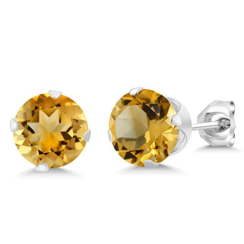 Gem Stone King 2.60 Ct Round Shape Yellow Citrine Sterling Silver Stud Earrings ()