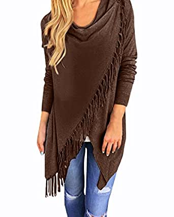 StyleDome Women Sweaters Casual Long Sleeve Jumpers Loose Solid Cardigans Pullover Winter Tassel Tops Shirts Blouses Coffee AU 24