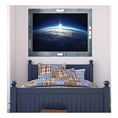 Incredible Craft, Science Fiction ViewPort Decal The Sun Peeking Over the Edge of Earth Wall Mural, Top Quality Design