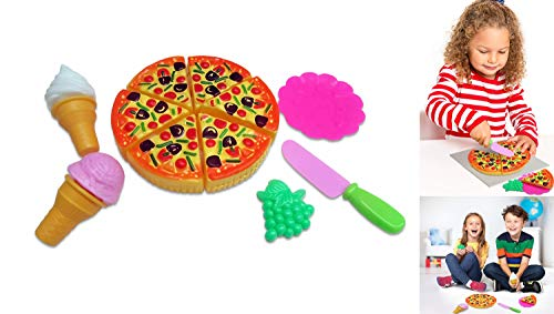 Toy Cubby Kids Toddler Pretend Play Pizza Party Cutting Food and Accessories Set (Play Party Set Pizza)