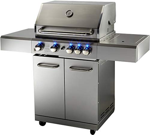 Western Pacific BBQ Gas Grill Barbecue 5 Burner Zones 60,000 BTU's Rotisserie Motorized Cabinet Stainless Steel Blue LED Lights Cover NAT Gas Propane Uncategorized