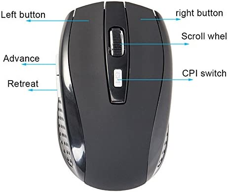 MeterMall 2.4GHZ Portable Wireless Mouse Cordless Optical Scroll Mouse for PC Laptop Black