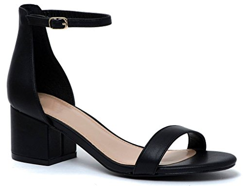 Block Heel Heel Covered Strap Sandals Pu Kitten Low LUSTHAVE Adorable Black Ankle qt67xY