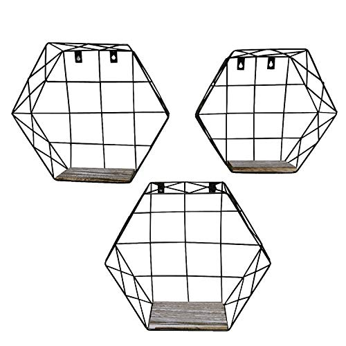 Admired By Nature Hexagon Wall-Mounted Metal Wire Hanging Storage Shelves, Black