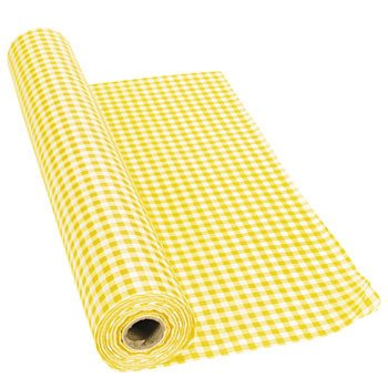 "100' X 40"" Yellow Gingham Tablecloth Roll - Party Tablewa..."