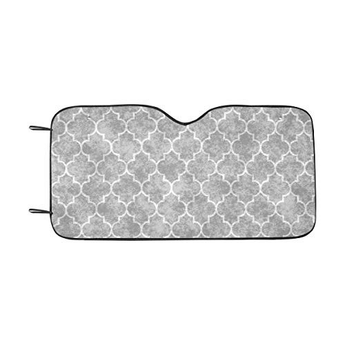 INTERESTPRINT Gray Geometry Pattern Car Sun Shades UV Protector, Auto Windshield Shades to Keep Cool