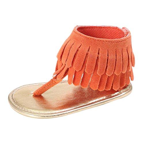 Sandalias para bebés, RETUROM Bebé la borla suave suela antideslizante sandalias zapatillas Naranja