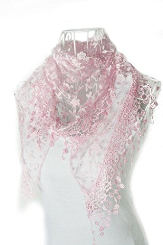 [Say's Scarf - Lace Tassel Sheer Floral Print Triangle Veil Church Mantilla Scarf Shawl Wraps / Pink] (Costume Design For Rabbit Hole)