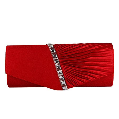 Wedding Handbag Clutch Purse Bag ele Red Diamante Prom ELEOPTION Pleated Bag Satin Womens Envelope Ladies Chain Bridal Evening Handbag Party qfP8wqBA
