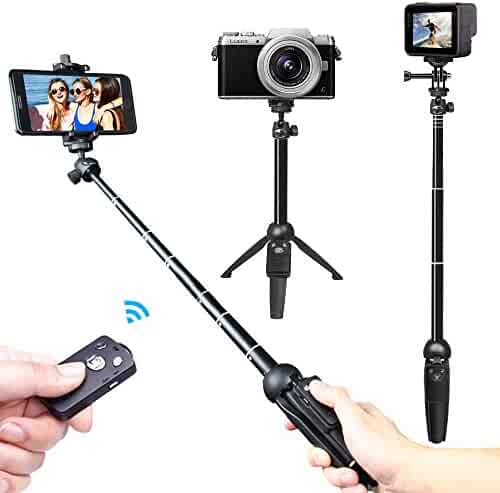 Selfie Stick, Venfoto 39.4 in Extendable Selfie Stick Tripod Compatible I-Phone/Samsung/ Gopro - Wireless Remote Bluetooth Phone Holder Compatible I-OS System and Android 4.3 System Above