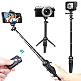 Selfie Stick,Venfoto 39.4 in Extendable Selfie Stick Tripod Compatible iPhone/Samsung/ GoPro - Wireless Remote Bluetooth Phone Holder Compatible iOS System and Android 4.3 System Above