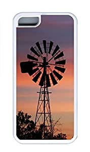 iPhone 5C Case, Personalized Custom Rubber TPU White Case for iphone 5C - Sunset Windmill Cover
