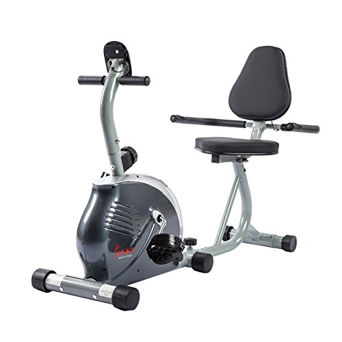 Sunny Health & Fitness Magnetic Recumbent Bike Exercise Bike, 265lb Capacity, Monitor, Pulse Rate Monitoring - SF-RB921