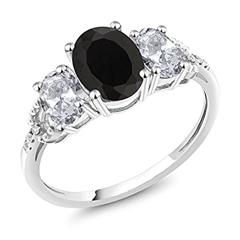 10K White Gold Diamond Accent Three-Stone Engagement Ring set with 2.30 Ct Oval Black Onyx White - Set Oval Onyx Ring