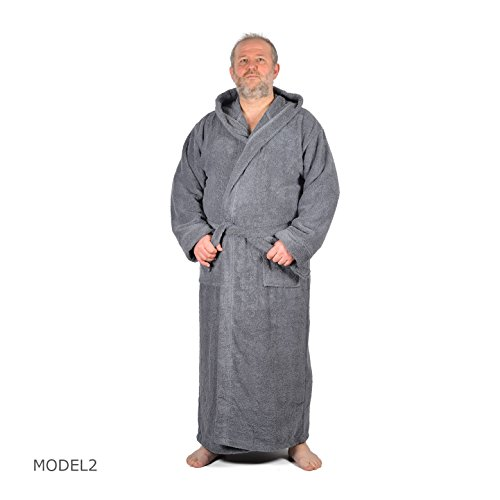 Arvec Men's Combed Turkish Cotton Terry Full Ankle Length Hooded Bathrobe (X-Large/XX-Large, Grey) by Arvec (Image #2)